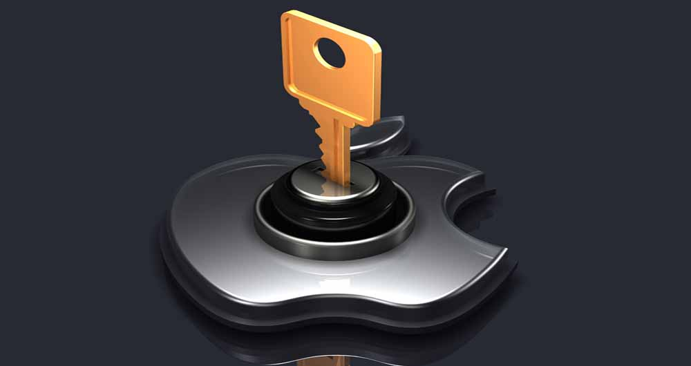 3d illustration of a large brass key inserted into a glass Apple logo on a gray reflective surface