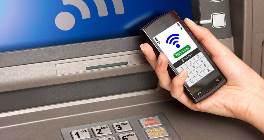 withdrawing money atm with mobile phone (NFC near field communic
