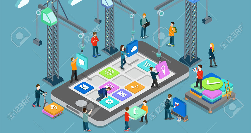 ۴۸۵۷۷۵۶۲-Mobile-technology-operating-system-creative-process-visualization-flat-3d-web-isometric-infographic--Stock-Vector