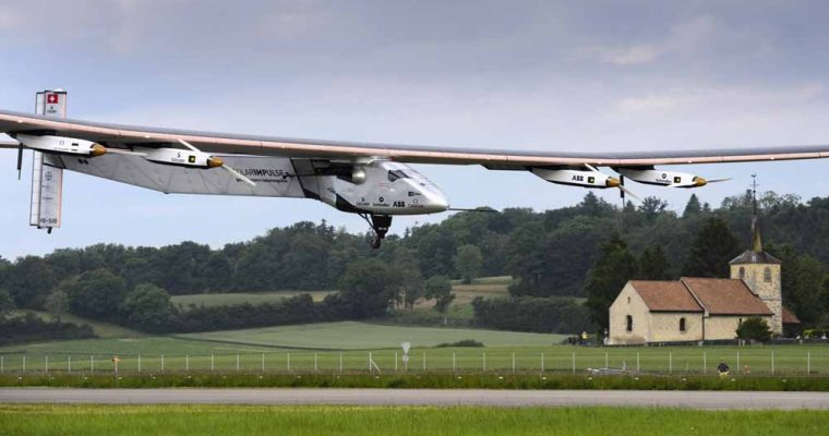 The solar-powered Solar Impulse 2 experimental aircraft flown by German test pilot Markus Scherdel, lands during its maiden flight in Payerne June 2, 2014. The aircraft, which was unveiled April 9, weighs 2.4 tons with a wingspan of 72 meters (236 ft.) and more than 17,000 solar cells. The attempt to fly around the world in stages using only solar energy will be made in 2015, according to the project.  REUTERS/Laurent Gillieron/Pool (SWITZERLAND - Tags: TRANSPORT SCIENCE TECHNOLOGY ENVIRONMENT) - RTR3RRS0