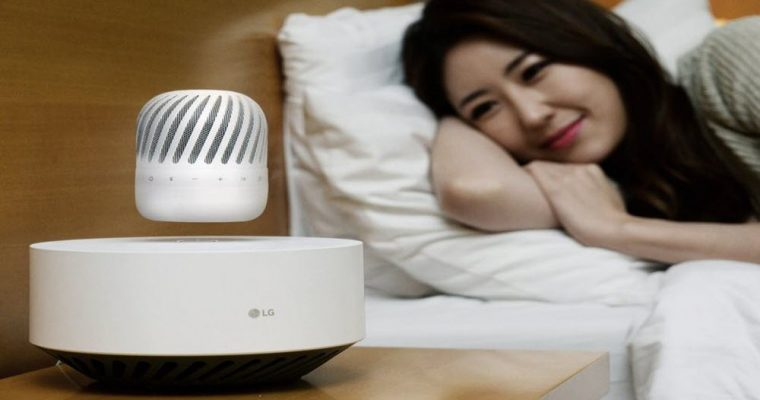 LG Bluetooth speaker suspended with 360-degree sound