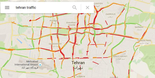 نقشه ترافیک تهران در گوگل مپ