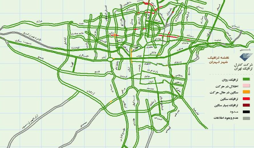 نمونه ای از نقشه های داخلی آنلاین ترافیک تهران