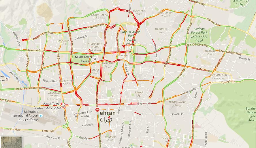 ترافیک تهران را در گوگل مپ ببینید