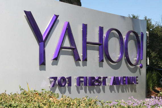 02 Nov 2015, Sunnyvale, California, USA --- Nov. 2, 2015 - Sunnyvale, California, USA - The worldwide headquarters of Yahoo! Inc. located at 701 First Avenue in Sunnyvale, California. Last week, Yahoo had a jump in stock price due to its large stake in Alibaba, which announced better than expected earnings. Also, Yahoo successfully live streamed an NFL game for the first time last week that was reportedly watched by more than 15.2 million people. The image shows signs, flags, logos, and buildings on the Yahoo campus. (Credit Image: © Scott Carson via ZUMA Wire) --- Image by © Scott Carson/ZUMA Press/Corbis