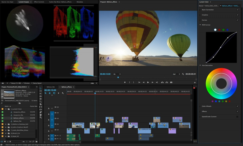 Premiere Pro cc2015 1024x617 برترین نرم افزار های تدوین فیلم
