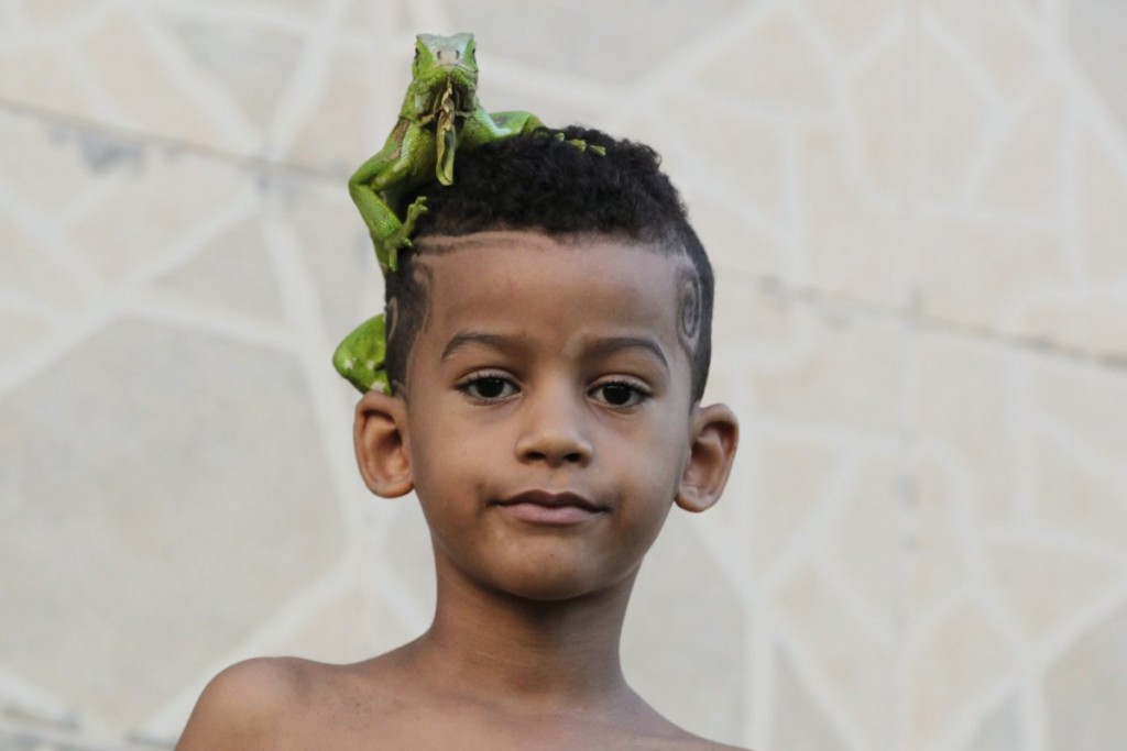 a-boy-stands-outside-his-home-with-an-iguana-on-his-head-in-