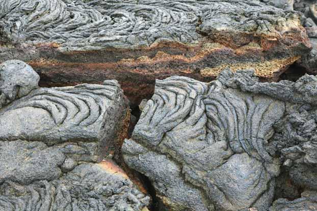 Lava rock split open
