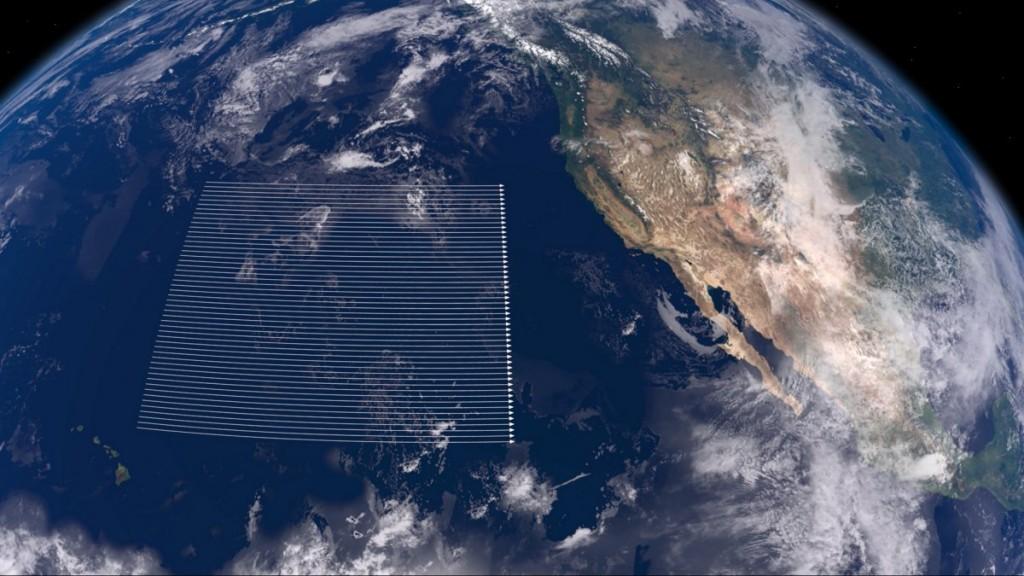 نقشه ای ساده از محدوده سفر کشتی های سفر مگا بین کالیفرنیا و هاوایی که مقیاس سفر اکتشافی آن ها را نشان می دهد