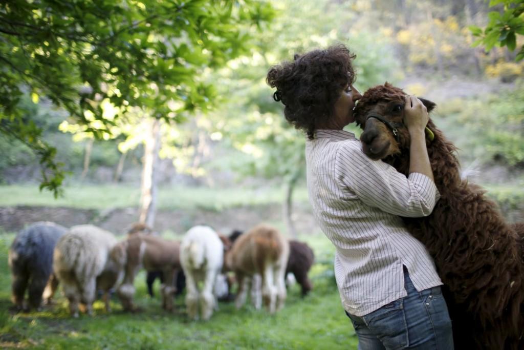 lisa-vella-gatt-46-hugs-an-alpaca-in-her-farm-near-benfeita-