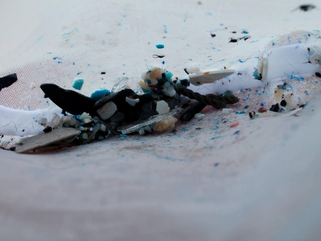 زباله های پلاستیکی جمع آوری شده در تور پس از یک ساعت از سفر مگا به اقیانوس آرام