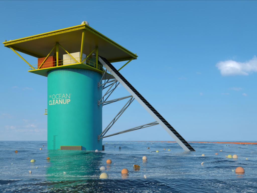 سیستم پاکسازی اقیانوس. تصویر برداری شده از مرکز سیستم همراه با ثبت تصویر سیستم جمع آوری کننده