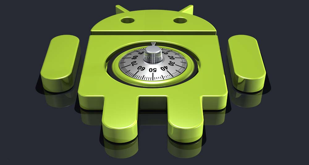 ۳d illustration of a large green Google Android logo lying upright on a dark reflective surface with a round combination lock dial notched into it