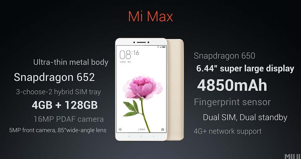 فبلت شیائومی Mi Max با رابط کاربری MIUI 8 معرفی شد