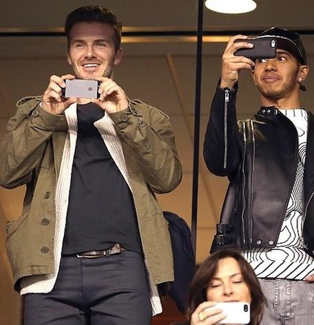 David Beckham and Lewis Hamilton