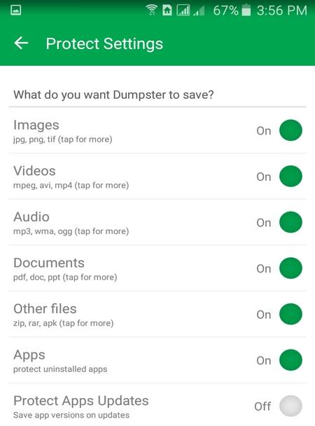 مشخص کردن فایل ها در Dumpster