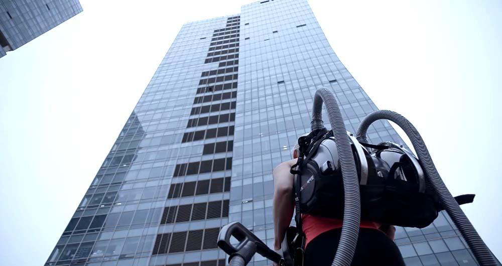 صعود به بالای یک برج اداری با استفاده از الجی CORDZERO