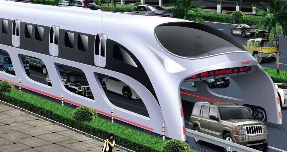 اتوبوس جدید چینی با سرعت از  روی ترافیک عبور می کند