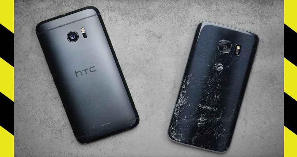 تماشاکنید؛ ویدئوی جالب تست سقوط از ارتفاع HTC 10 و Galaxy S7
