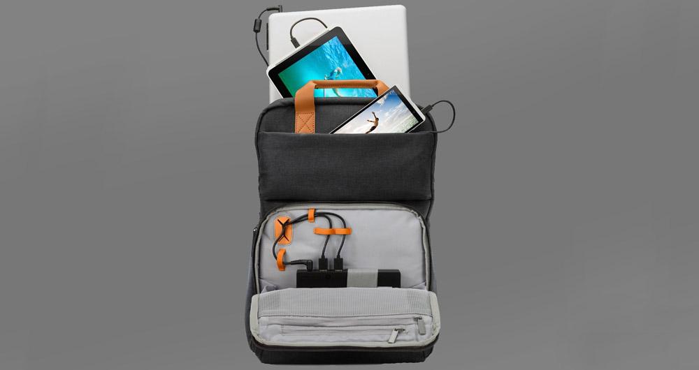 شارژ چند باره گوشی و لپ تاپ با کوله پشتی هوشمند HP