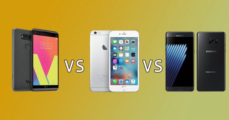 مقایسه گوشیهای هوشمندLG V20،Samsung Galaxy Note 7 و Apple iPhone 6s Plus