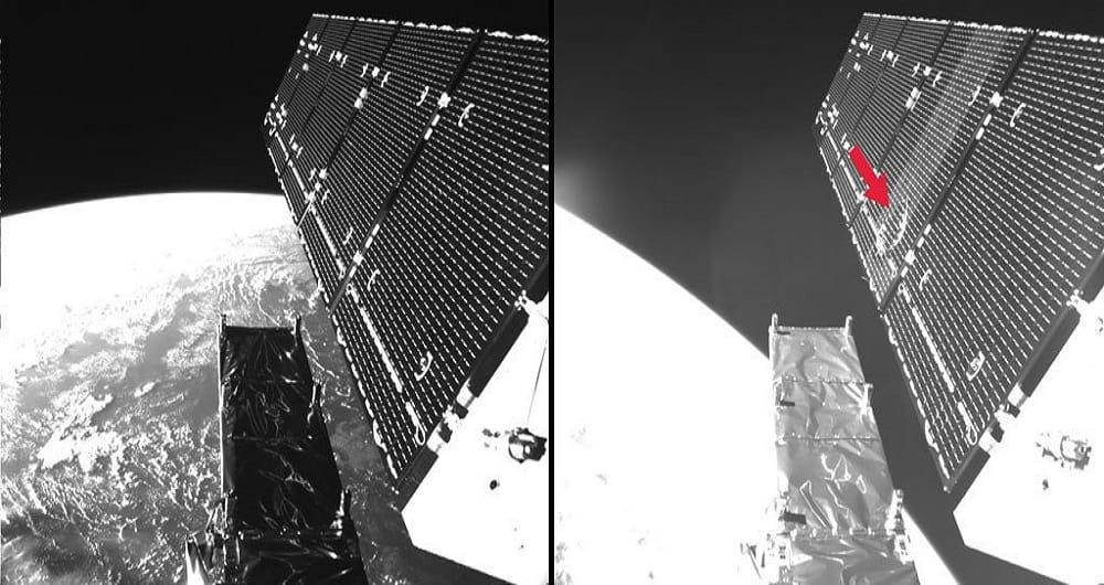 برخورد ماهواره سنتینل با یک ذره فضایی