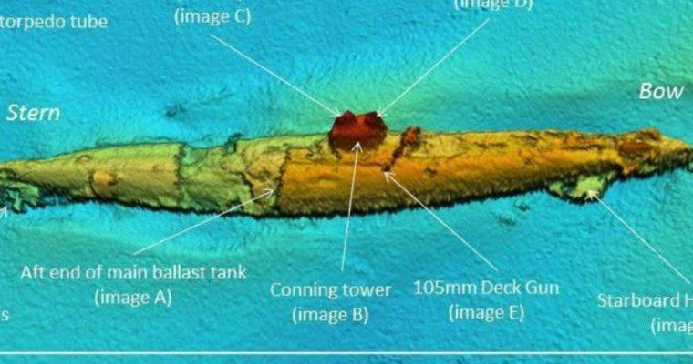 لاشه زیردریایی مربوط به جنگ جهانی اول