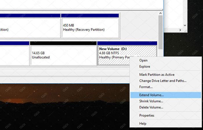 افزایش فضای یک پارتیشن در ویندوز 10