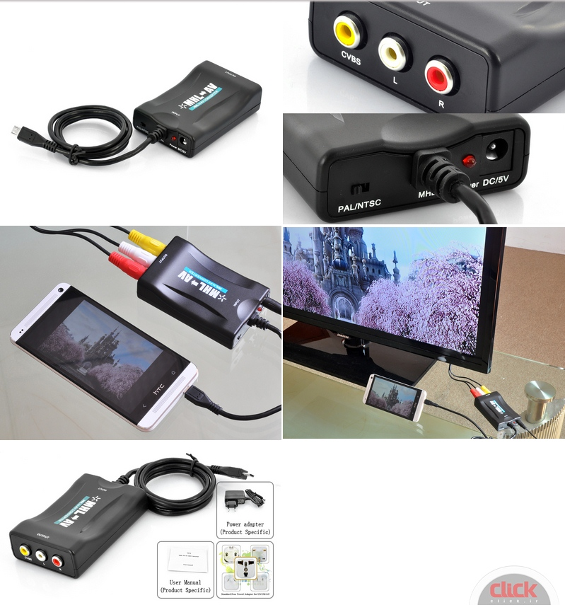 How to AV Video Converter MHL smartphone and tablet will connect to the TV?