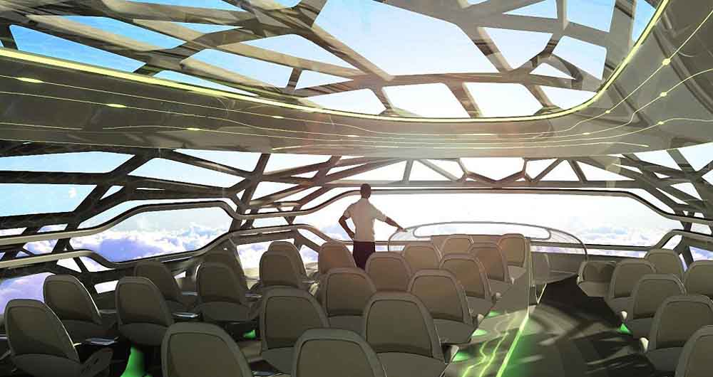 "EMBARGOED TO 1900 MONDAY JUNE 13. Undated Airbus handout image of artists impression of the vitalising zone which provides a panoramic view in an ""intelligent"" concept cabin that air travellers in 2050 might fly in designed by Airbus. PRESS ASSOCIATION Photo. Issue date: Monday June 13, 2011. A vision of future air travel, with seats that change to fit passengers' body shapes, was presented by plane-maker Airbus in London tonight. Showing off a concept cabin, the company also said that mid-century passengers might be able to a enjoy a game of virtual golf or take part in interactive conferences, while the cabin ""identifies and responds"" to travellers' needs. The cabin of the future follows last year's unveiling of the Airbus concept plane, packed with technologies to reduce fuel burn, emissions, waste and noise. See PA story AIR Future. Photo credit should read: Airbus/PA Wire  NOTE TO EDITORS: This handout photo may only be used in for editorial reporting purposes for the contemporaneous illustration of events, things or the people in the image or facts mentioned in the caption. Reuse of the picture may require further permission from the copyright holder."