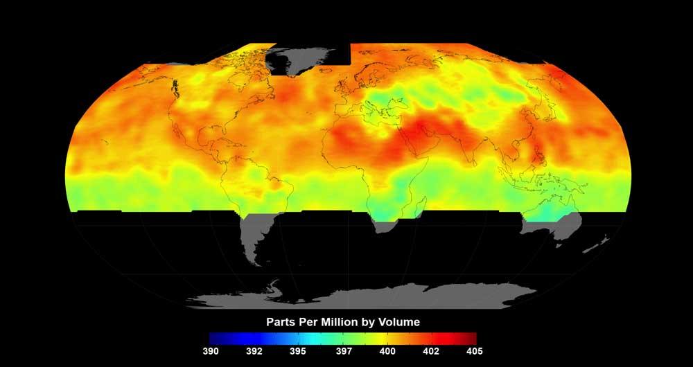 تماشا کنید؛ شبیه سازی حرکت دی اکسید کربن در جو زمین