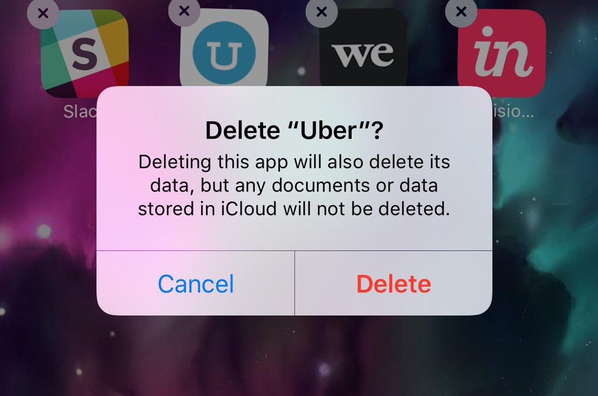 حذف اپلیکیشن اوبر