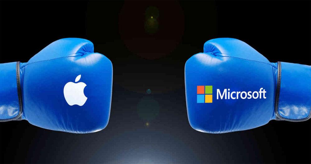 پذیرش شکست اپل از مایکروسافت