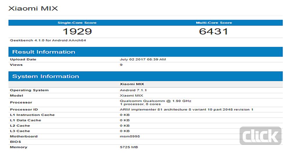 مشخصات گوشی هوشمند Xiaomi Mi Mix 2 در بنچمارک تائید شد