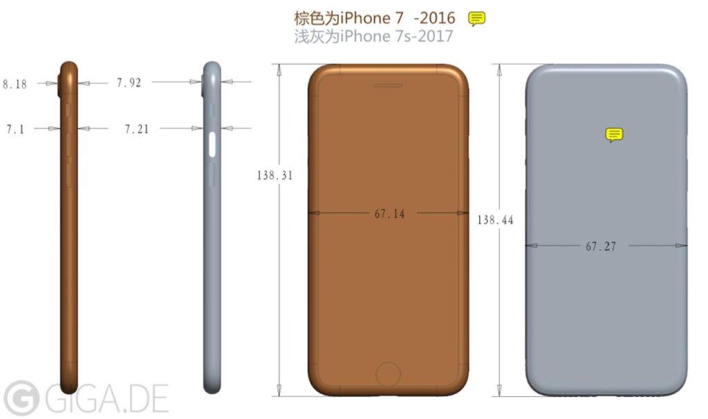 iPhone 7s بدنه ضخیم تری نسبت به iPhone 7 دارد