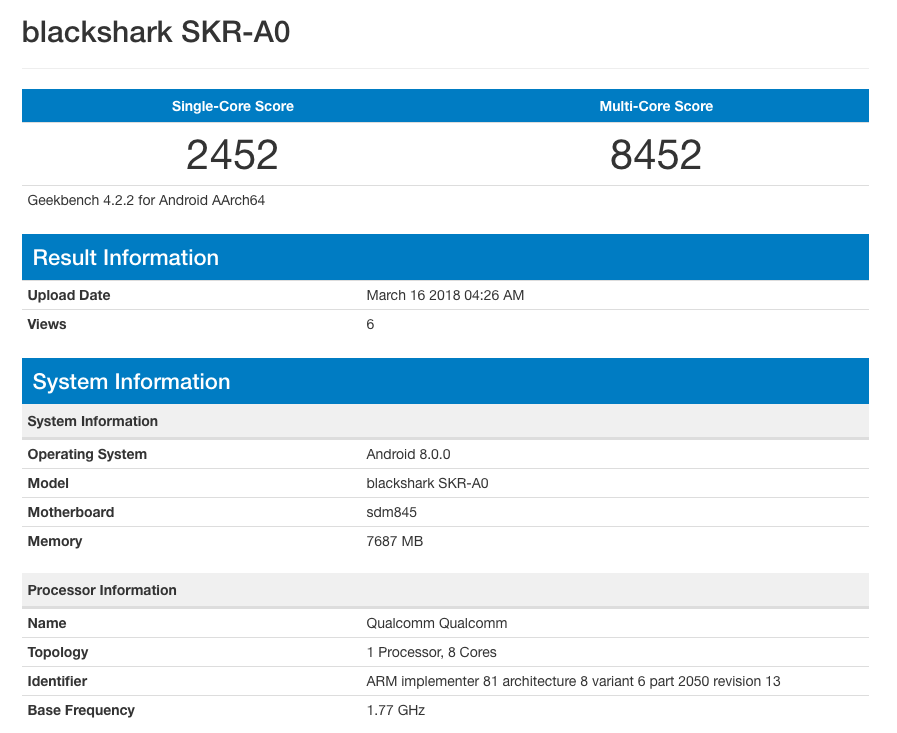 گوشی گیمینگ شیائومی به پردازنده اسنپدراگون 845 و 8 گیگابایت رم مجهز می شود