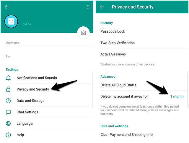 حذف خودکار اکانت تلگرام-آموزش دیلیت اکانت تلگرام یا حذف اکانت تلگرام