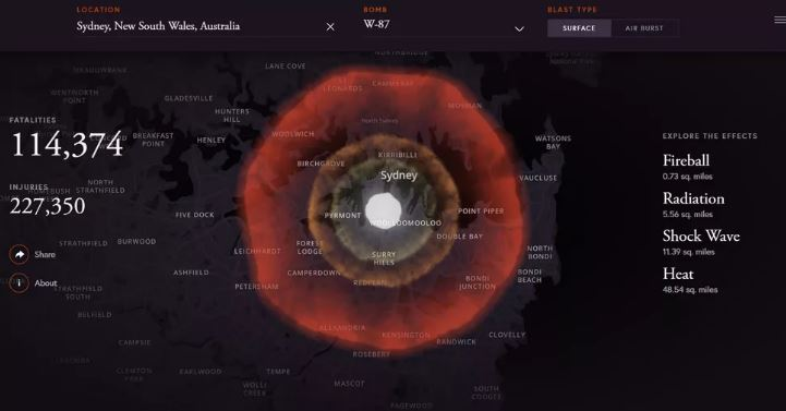این وب سایت به شما می گوید در صورت انفجار بمب اتمی در محل زندگی تان دقیقا چه اتفاقی می افتد!