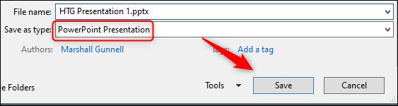 کاهش حجم فایل پاورپوینت با تبدیل فرمت فایل به PPTX