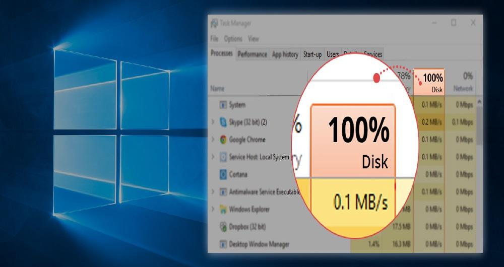 استفاده %100 از هارد دیسک