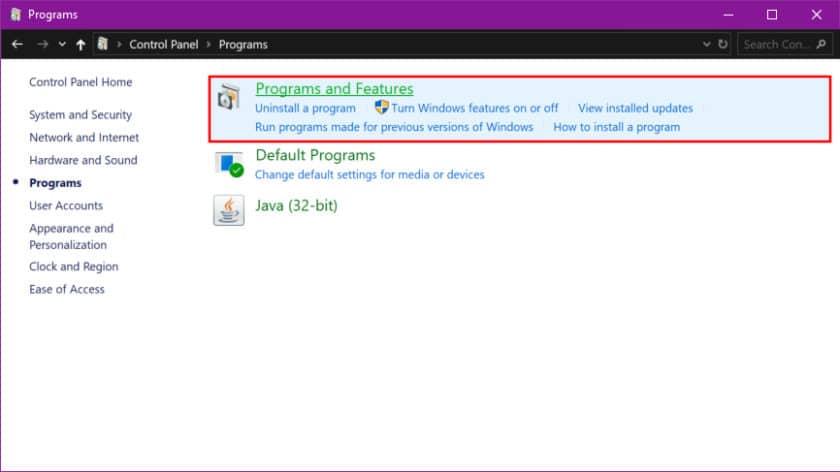 حذف برنامه در ویندوز 10 با استفاده از Control Panel