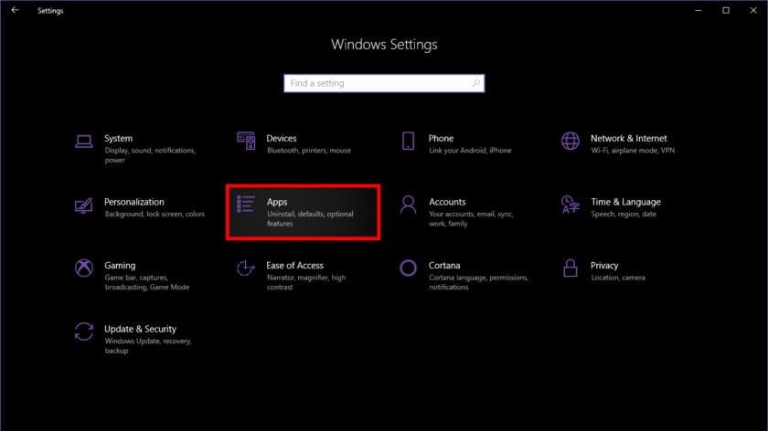حذف برنامه در ویندوز 10 با استفاده از Settings