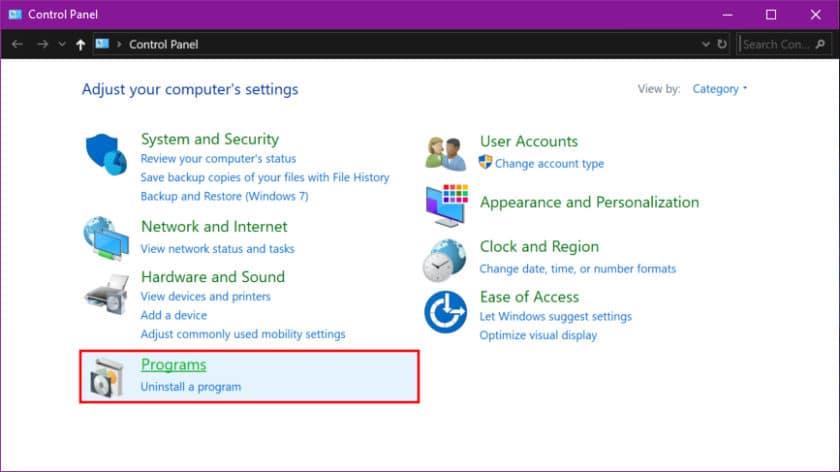 حذف برنامه در ویندوز 10 با استفاده از کنترل پنل