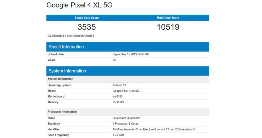 گیک بنچ پیکسل 4 ایکس ال 5G