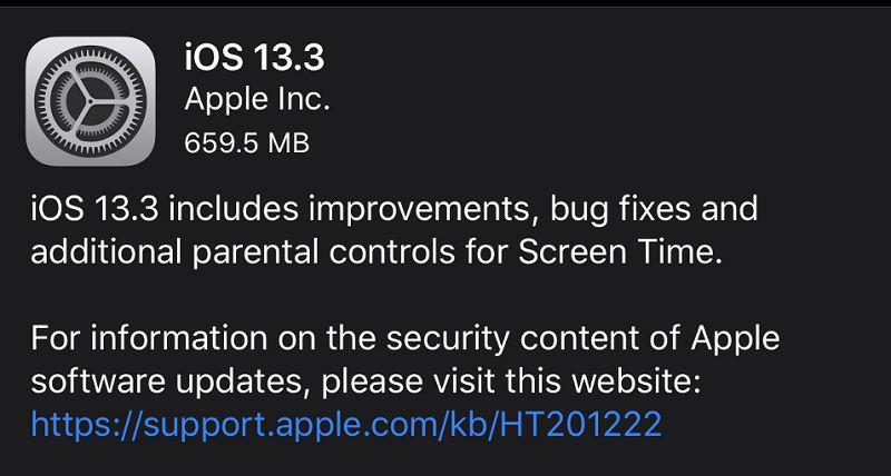 سیستم عامل iOS 13.3