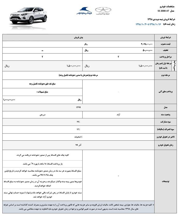 فروش خودروی جک S5 اتوماتیک