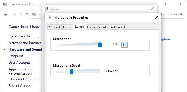 صدای پسزمینه میکروفون در ویندوز