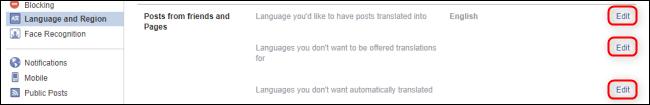 تنظیمات زبان