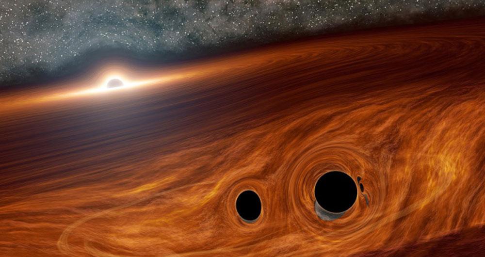 ستاره شناسان موفق به شناسایی نور ناشی از برخورد سیاه چاله ها شدند