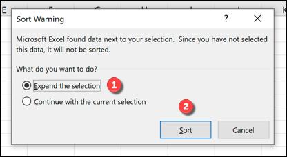 مرتبسازی دادهها در اکسل